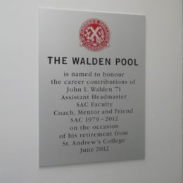 SAC 'The Walden Pool' plaque